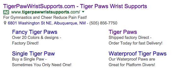 Old adwords ad format with extentions