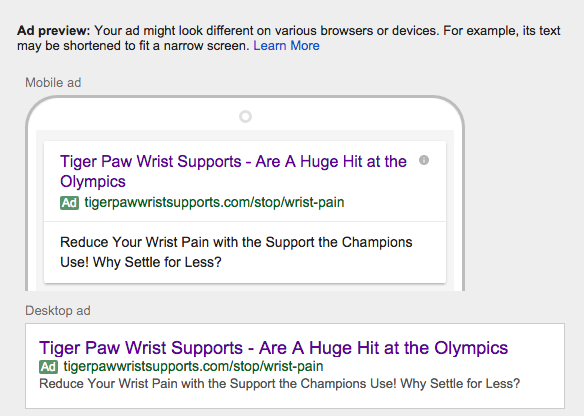 New larger headline in adwords
