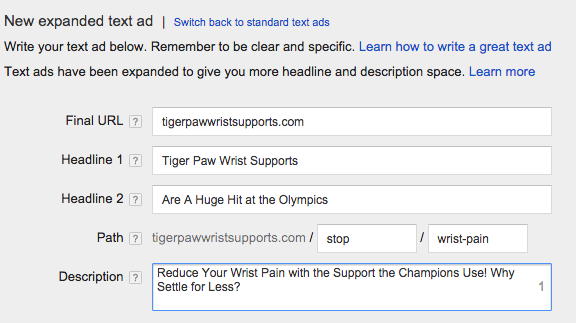 New adwords editing panel